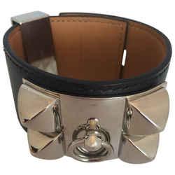 Herms Cuir Collier De Chien Black & Silver Leather Cuff Bracelet