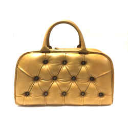 HUNTING SEASON Mustard-Gold Leather Handbag with Tufted Front & Back