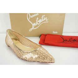 Christian Louboutin Cabaret Sequin Pointy Toe Flat Pump Sz 35.5 Nib $625 Glitter
