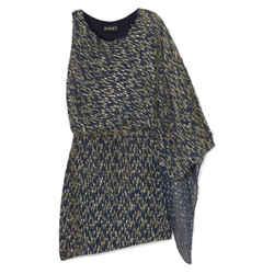Haney Navy Blue / Gold Lucia One Shoulder Asymmetric Fil Coupe Chiffon Mini Dress