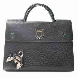 Auth Christian Dior Ever Bee Women's Leather Handbag,shoulder Bag Black,green