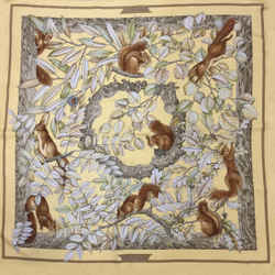 Hermes Casse Noisette Yellow Squirrel Print Scarf
