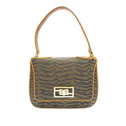 Vintage Authentic Fendi Brown Animal Print Canvas Handbag Italy