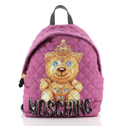 Teddy Bear Backpack Quilted Printed Nylon Medium
