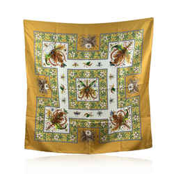 Gucci Vintage Yellow Accornero Leaves and Insects Silk Scarf 1970