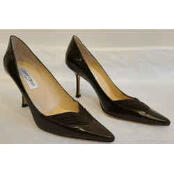Jimmy Choo Brown Glossy Kid Leather & Suede Pumps - Size 39 - New In Box $695