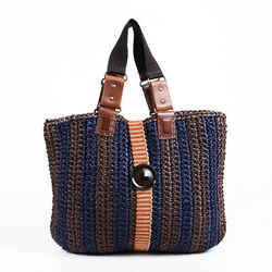 Marni Bag Blue Brown Striped Crochet Raffia Tote