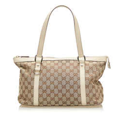 Vintage Authentic Gucci Brown Beige Canvas Fabric GG Abbey Shoulder Bag Italy