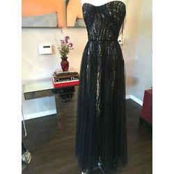 Monique Lhuillier Sz 10 Black Silk Gown Evening Dress Long Tulle Nwt 1-334-6719