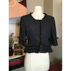 Emporio Armani Black Polka Dot High Low Ruffle Jacket 2198-24-3520