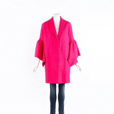 Delpozo Coat Pink Linen Bell Sleeve SZ 34