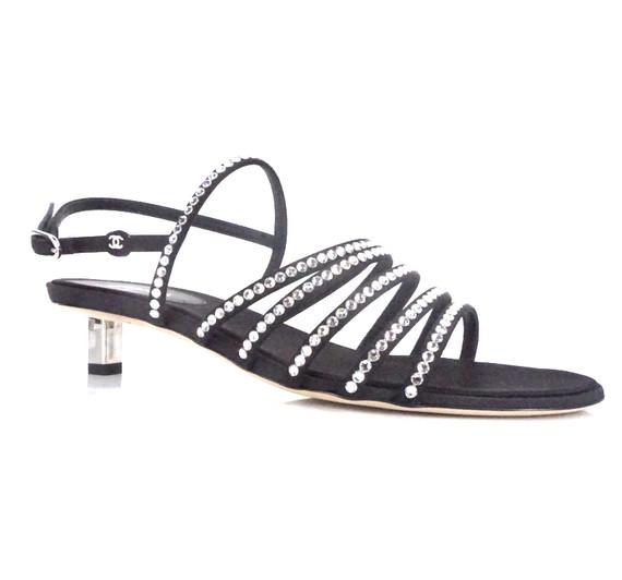 Ruler Black Crystal Strappy Sandals Logo 25mm Cc