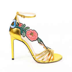 Gucci Sandals Ophelia Gold Leather Floral Embroidered SZ 36.5