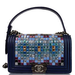Chanel Mosaic Large Boy Quilted Lambskin Shoulder Bag Blue
