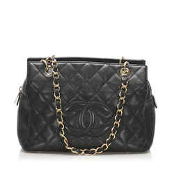 Vintage Authentic Chanel Black Caviar Petite Timeless Shopping Tote Bag France