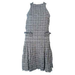 CHANEL Black and White Tweed Criss Cross Back Dress Size 36