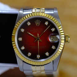 Rolex Women's Datejust Two tone Factory Red Diamond Dial w/ Certificate