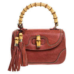 Gucci Rust Leather Medium Tassel New Bamboo Top Handle Bag