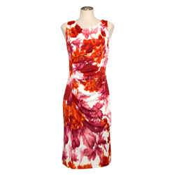Escada Red/orange Painterly Jersey Dress