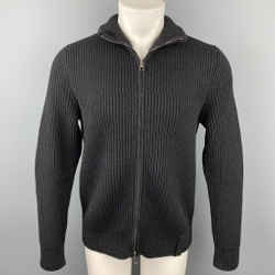 LOUIS VUITTON Size M Black Ribbed Knit Wool Blend Zip Up Jacket