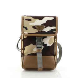 Smartphone Case Crossbody Bag Tessuto with Saffiano Leather Mini