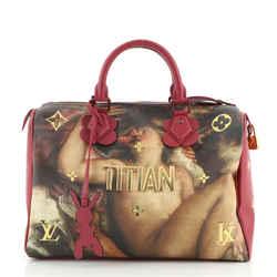 Speedy Handbag Limited Edition Jeff Koons Titian Print Canvas 30