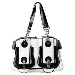 Fendi B Buckle Handbag Tote Bag White/black