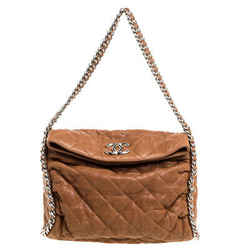 Chanel Tan Leather Chain Around Hobo