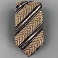 ERMENEGILDO ZEGNA Brown & Navy Diagonal Stripe Silk Tie