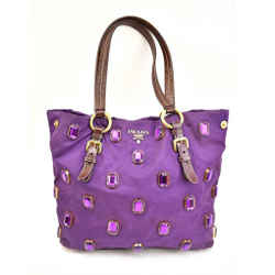 "Prada: Amethyst, Vela Nylon & Logo ""jeweled"" Medium Tote/shoulder Bag (nz)"