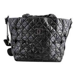 Chanel Quilted Single Strap Shoulder Bag Black Leather