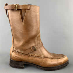 RALPH LAUREN Size 8.5 Tan Leather Mid-Calf Double Buckle Boots