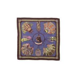 Brown & Multicolor Hermes Cuirs du Desert Cashmere & Silk Scarf
