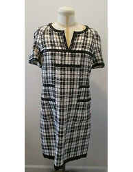 Chanel Black & White Cotton & Silk Blend Short Sleeve Dress - Size 44