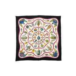 Black & Multicolor Hermes Qu'importe le Flacon Silk Scarf