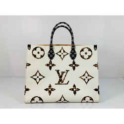 Louis Vuitton Jungle Giant Monogram Onthego GM in White with Orange Tote Shoulder Handbag