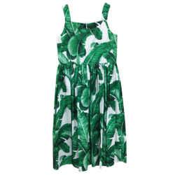 Dolce&Gabbana Green Palm Leaf Print Girl's Formal Dress