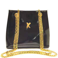 Paloma Picasso  Black Patent Leather Gold Chain Crossbody/shoulder  Evening Bag Purse