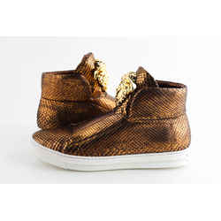 Versace Gold Python Skin High Top Slip On Sneakers