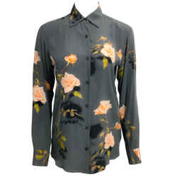 Dries van Noten Charcoal Grey Floral Print Button-Down Top