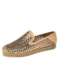 Stuart Weitzman Peach Perforated Glitter Leather Country Espadrille Flats Siz...