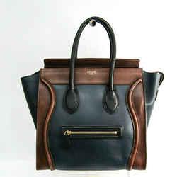 Celine Luggage Micro Shopper 167793 Women's Leather Handbag Brown,Navy BF506630