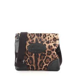 Zip Messenger Bag Leopard Print Nylon Medium