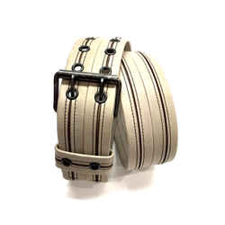 LANVIN Beige Leather Gunmetal Buckle Waist Belt with Tiered Slits