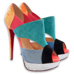 NEW $1411 CHRISTIAN LOUBOUTIN Pitou 150 Veau Velours/ Python Fresh Pumps - 39.5