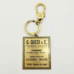 New Gucci Gold Metal Italian Business Card Plaque Keychain 495420 8233