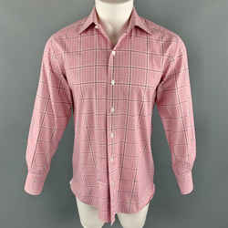 Tom Ford Size M Pink Plaid Cotton Spread Collar Button Up Long Sleeve Shirt