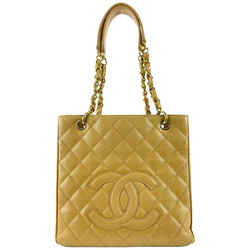 Chanel Dark Beige Quilted Caviar Leather PST Petite Shopping Tote Gold 1120c3
