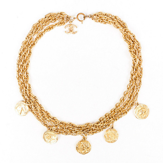 Chanel Gold Tone Cc Medallion Necklace