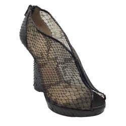 Christian Louboutin Black Snakeskin and Lace Peep Toe Wedges